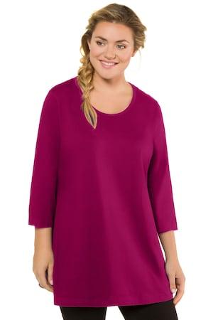 Plus_Size_Swing_Time_Round_Neck_Aline_34_Sleeve_Knit_Tunic