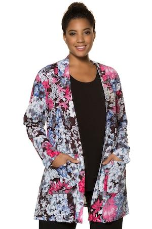 Plus Size Matte Jersey Open Front Patch Pocket Jacket