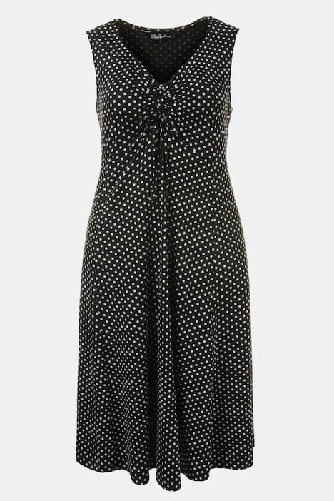 Empire Seam Dot Knit Print Dress