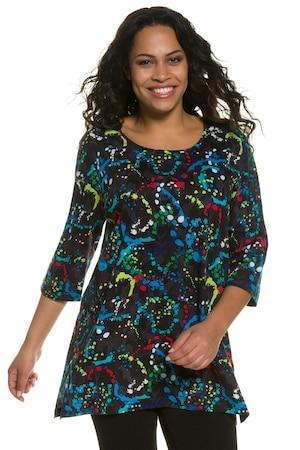 Plus_Size_Paint_Splatter_Print_Round_Neck_34_Sleeve_Knit_Tunic