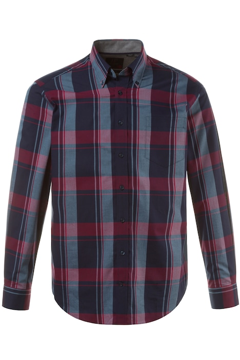 Large Navy Stripe Plaid Modern Fit L/S Shirt