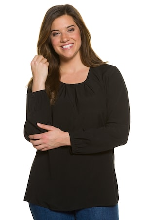 Plus_Size_Pleated_Round_Neck_Long_Sleeve_Button_Cuff_Viscose_Blend_Blouse