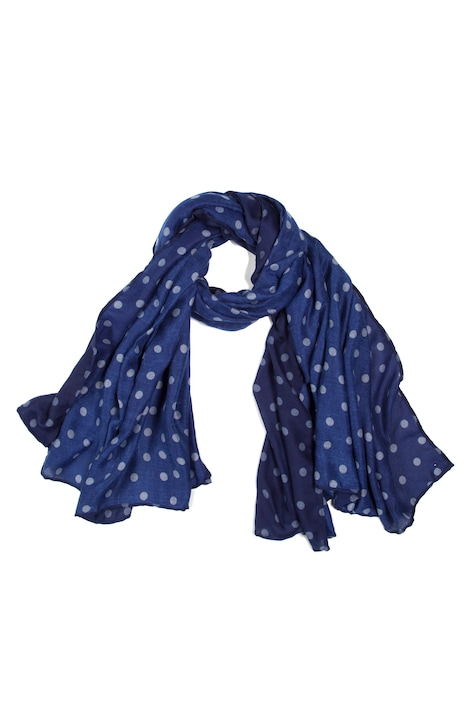 Shades of Blue Dot Print Polyester Scarf
