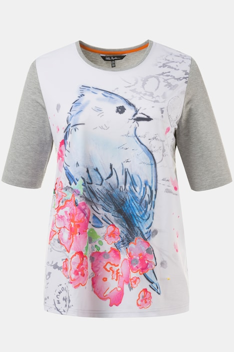 Colorful Bird Classic Fit Short Sleeve Sketch Knit Top