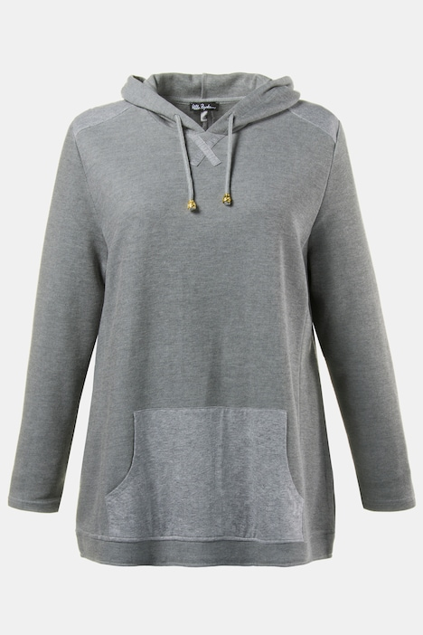 Mixed Fabric Long Sleeve Tiny Rib Hoodie