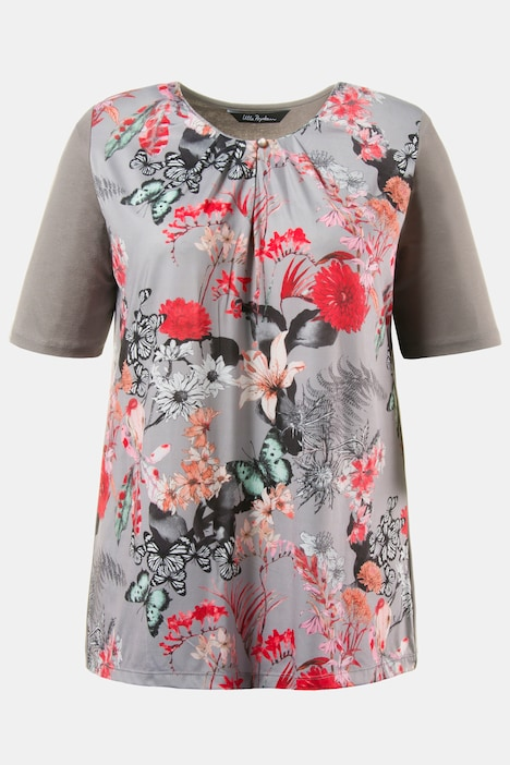 Oriental Floral Front Print Gathered Classic Fit Top