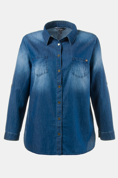 Washed Denim Relaxed Fit Cotton Long Sleeve Shirt