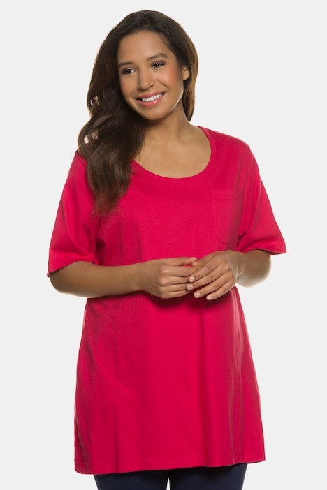 Pocket Accent Cotton Knit A-line Swing Tunic