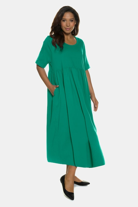 Gathered Easy Short Sleeve Cotton A-line Knit Dress