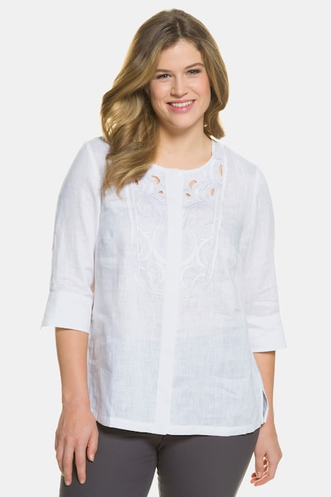 Embroidered Yoke Round Neck Linen Blouse