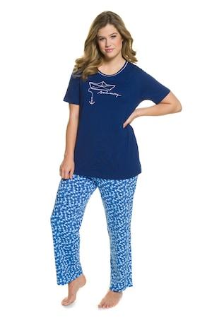 Plus_Size_Sail_Away_Short_Sleeve_Cotton_Pajama_Set