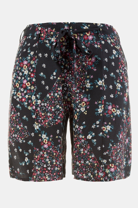 Tie Button Zipper Floral Print Slash Pocket Shorts