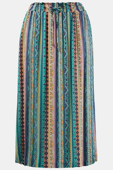 Tropical Stripe Elastic Waist Pocket Skirt