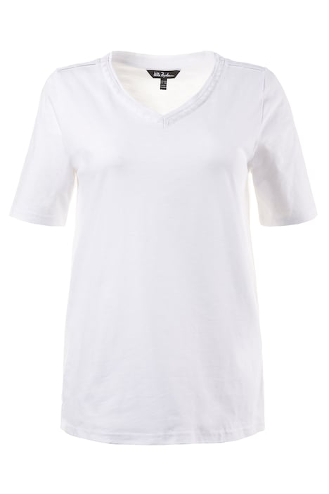 Embroidered Neckline Classic Fit Cotton Tee