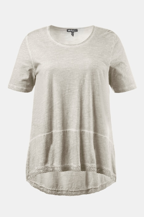Lace Trim Curved Hem A-line Fit Cotton Tee