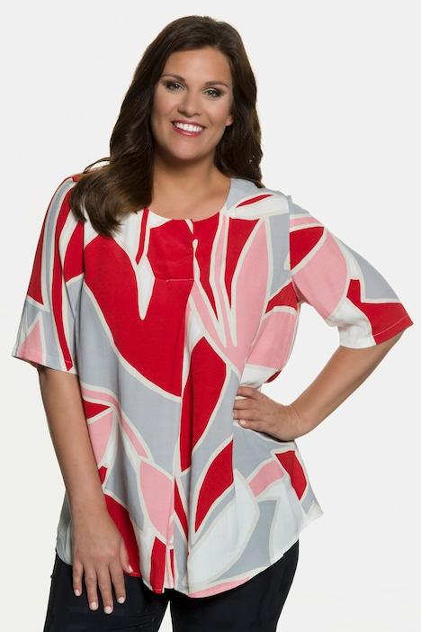 Art Deco Print Pleat Neck Viscose Blouse