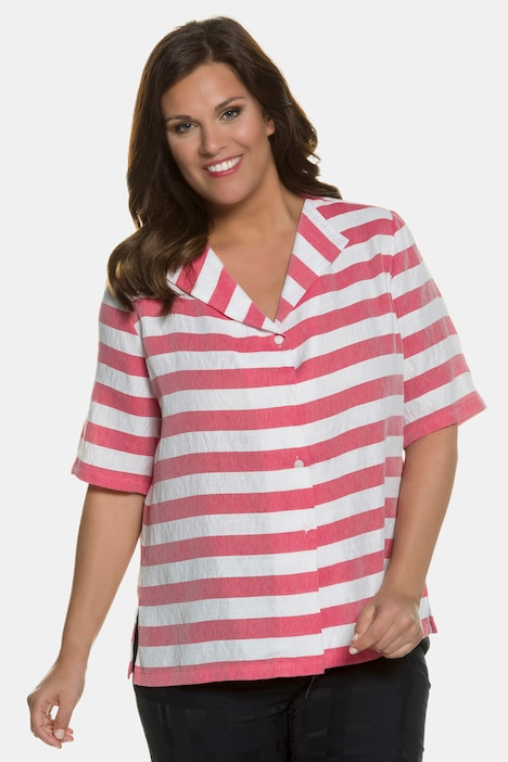 Fold Collar Button Front Stripe Blouse