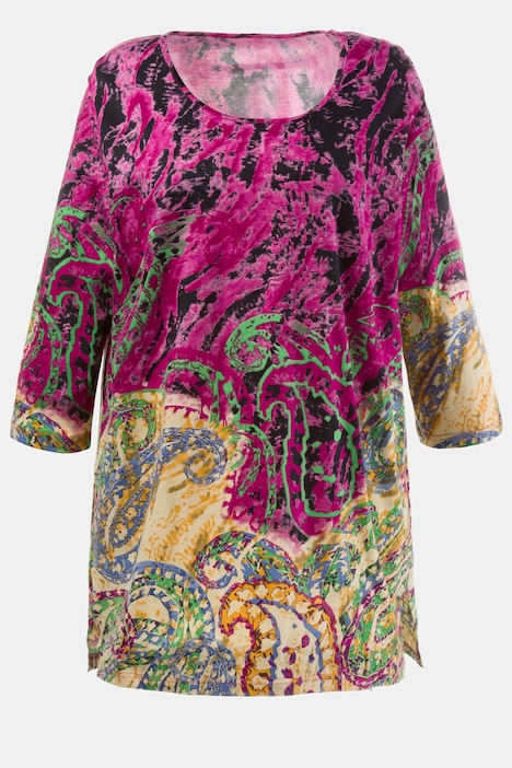 Updated Paisley Border Print Cotton Knit Tunic