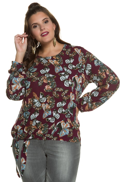 Butterfly Print Round Neck Long Sleeve Blouse