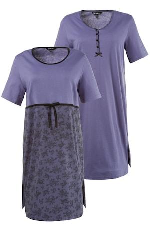 Ulla Popken Bigshirts, 2er-Pack, Spitzendruck/Knopfleiste, bis Größe 66/68 - Große Größen