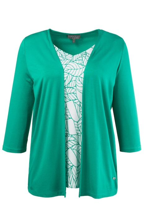 Leaf Print Inset 2 in 1 Knit Three Quarter Sleeve Top