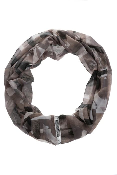Neutral Plaid Print Infinity Scarf