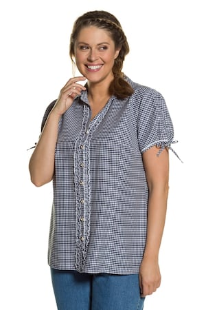 Plus_Size_Dirndl_Gingham_Button_Front_Short_Sleeve_Ruffle_Blouse
