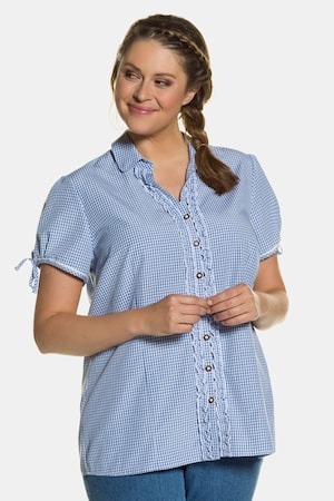 1940s Blouses and Tops Plus Size Dirndl Gingham Button Front Short Sleeve Ruffle Blouse $55.99 AT vintagedancer.com