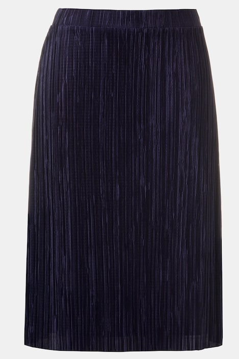 Pleat Flared All Elastic Waist Lined Skirt