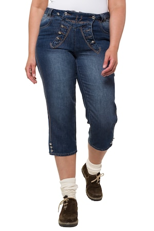 Jeans folklorique, boyfriend, broderies, boutons métalliques, bavette, pont, ceinture à passants - Grande Taille