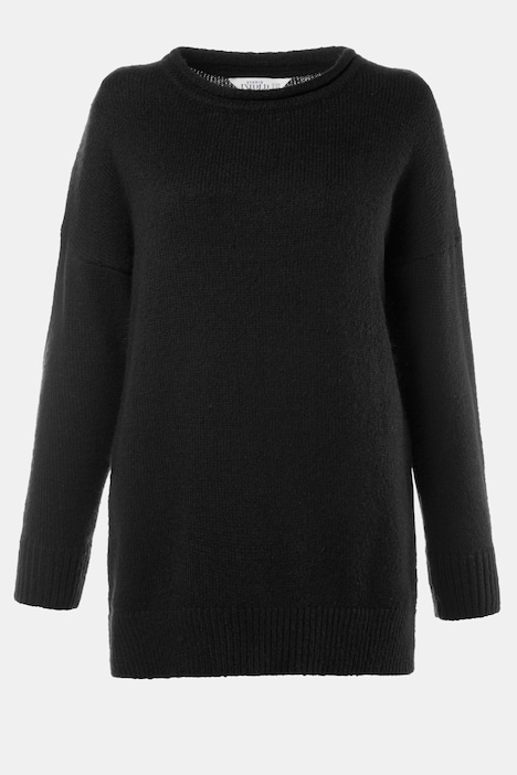Rolled Edge Long Sleeve Oversized Sweater