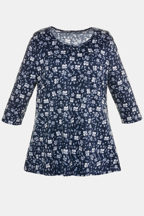 Floral Print Swing A-line Cotton Knit Tunic