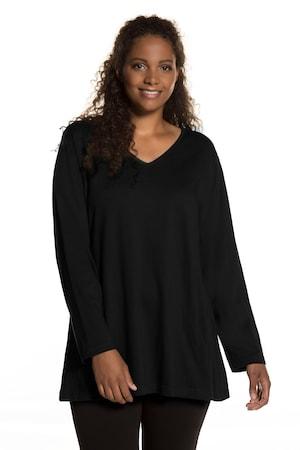 Plus_Size_VNeck_Long_Sleeve_Swing_Cotton_Knit_Tunic