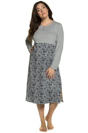 Ulla Popken Nachthemd, Blüten, Zier-Knopfleiste, Seitenschlitze - Große Größen