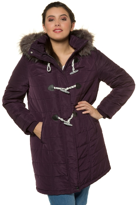 Toggle Accent Quilted Removable Hood Duffle Coat Jackets