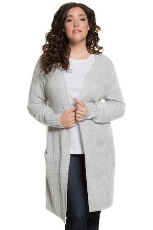 Plus_Size_Diamond_Design_Open_Front_Pocket_Cardigan_Sweater