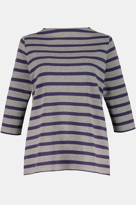 Stripe High Neck Three Quarter Sleeve Stretch Knit Top