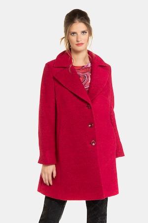 Manteau en laine, grand col à revers, boutons fantaisie - Grande Taille