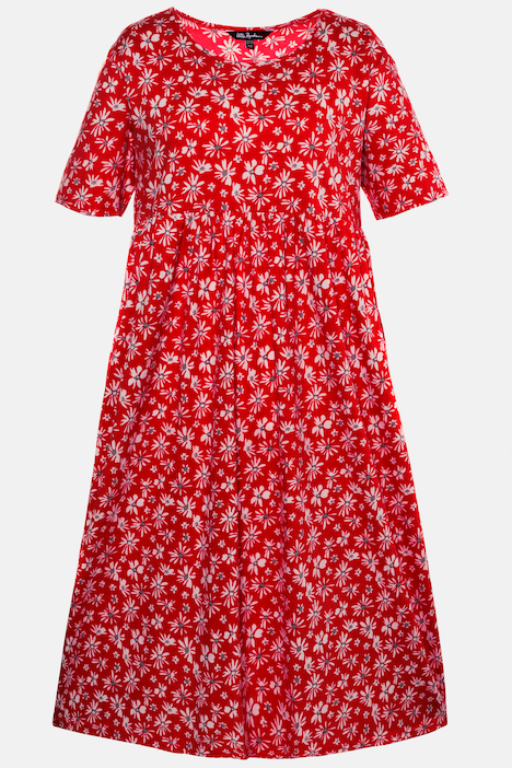 Bright Tiny Floral Print A-line Empire Knit Dress