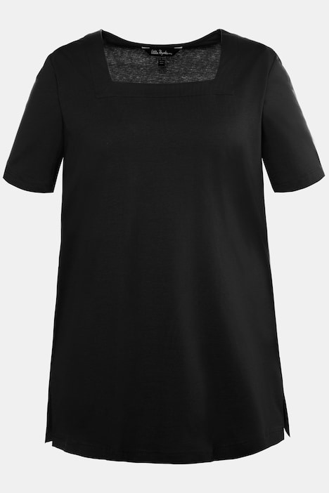 Square Neck Short Sleeve Cotton Knit Tunic