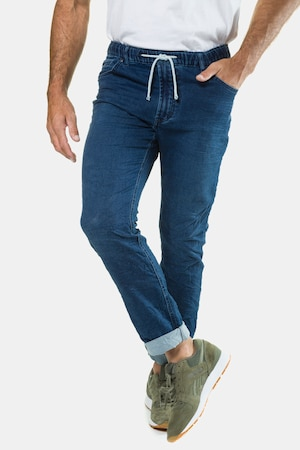 Jean superstretch, straight fit, 5 poches, ceinture à passants, bouton, zip - Grande Taille