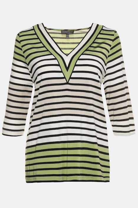 Updated Stripe V-Neck Stretch Knit Top
