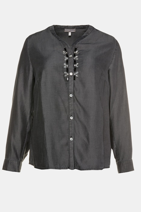 Bead Accent Placket Long Sleeve Lyocell Blouse