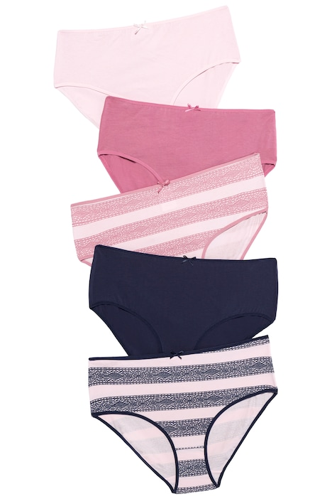 5 Pack of Cotton Stretch Panties - Lace Stripes