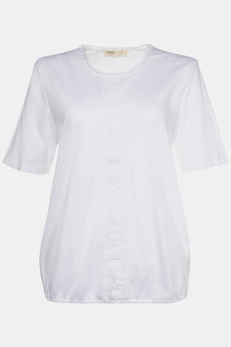 Eco Cotton Lace Trim Elastic Hem Tee