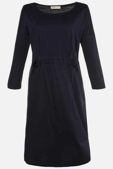 Eco Cotton Tie Waist Long Sleeve Knit Dress