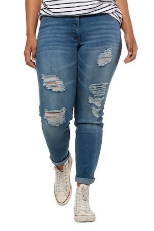 Jeans Skinny, effets destroy, coupe étroite 5 poches, ceinture à passants - Grande Taille