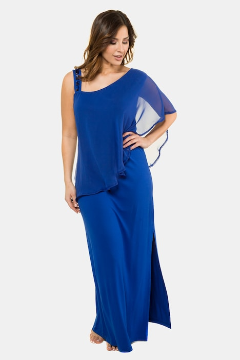 Asymmetrical Sleeveless Stretch Knit Maxi Dress