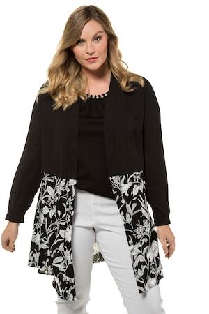 Plus Size Colorblock Open Front Jacket