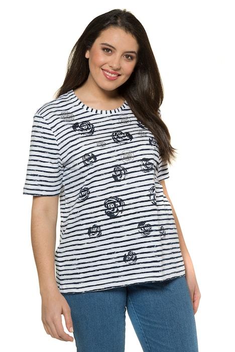 Rose Stamp Stripe Slub Jersey Cotton Knit Tee T Shirts